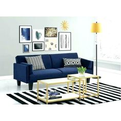 DHP's Metro Futon Convertible Sofa Bed in navy blue brings a classic yet contemporary look to your home decor. This elegant sofa bed converts quickly and easily from a comfortable lounger to a full-size sleeper with click clack sofa technology. Couch Furniture, Living Room Furniture, Living Room Decor, Cheap Furniture, Navy Blue Couches, Navy Sofa, Blue Sofas, Futon Design, Small Spaces