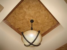 """Tray Ceiling - """"We Love Ceilings"""" - Italian Finish - Stucco Valentino, what is fun about this finish, it is almost impossible to understand what this finish is, when looking at it from the ground. Lots of Wows!  http://bellafauxfinishestv.com"""