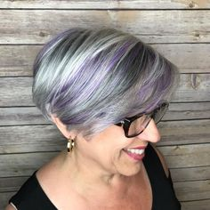 50  Gray Bob With Pastel Purple Balayage
