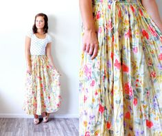 Vintage SMALL // yellow // boho skirt // floral by BeigeVintageCo, $28.00