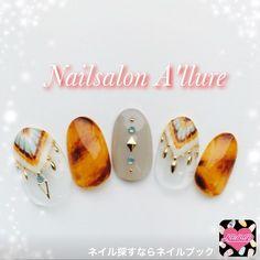 ネイル 画像 Nail salon A'llure 土浦 1561078 アースカラー グレー ベージュ ピーコック べっ甲 変形フレンチ リゾート 海 夏…