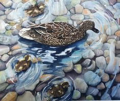 Watercolor ducks  Etsy listing at https://www.etsy.com/listing/202142252/watercolor-print-mother-and-baby-ducks