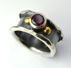 Rhodolite Garnet Sterling Silver 18K Gold Ring by joykruse on Etsy