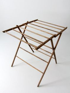 antique drying rack wood laundry stand by on Etsy Wooden Drying Rack, Drying Rack Laundry, Clothes Drying Racks, Wood Rack, Folding Furniture, Wood Furniture, Laundry Stand, Bamboo Ladders, Portable Shelter