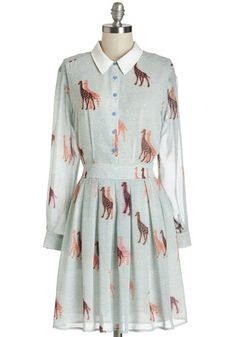 Walk Tall Dress - Multi, Print with Animals, Buttons, Pleats, Casual, A-line, Long Sleeve, Woven, Better, Collared, Mid-length, Chiffon (MODCLOTH)