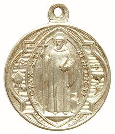 Saint Benedict Vintage Religious Medal Pendant by CherishedSaints