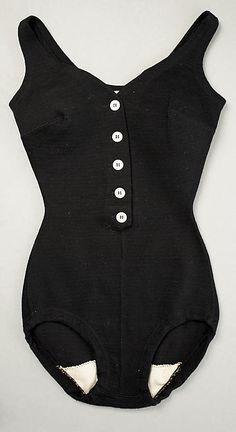 Black wool bathing suit with white buttons, by Rudi Gernreich, American, 1956.