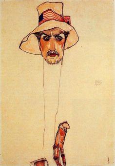 EGON SCHIELE. Portrait d'un homme au chapeau (Erwin Dominik Osen), 1910. Aquarelle et craie noire