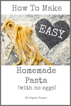 Easy homemade pasta can be yours – and very inexpensively! There is absolutely n… Easy homemade pasta can be yours – and very inexpensively! There is absolutely no comparison to that dry stuff in the box! (This recipe is egg-free. Pasta Carbonara, Pasta Bolognese, Egg Free Recipes, Whole Food Recipes, Cheap Recipes, Budget Recipes, Camping Recipes, Recipes Dinner, Cookie Recipes