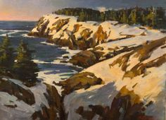"""""""Monhegan,"""" Ken Pratson, oil on canvas mounted on board, 24 x 32"""", private collection."""