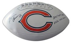 "Brian Urlacher Chicago Bears Autographed White Panel Logo Football Inscribed ""2005 NFL DPOY"" & ""2006 NFC Champ"""
