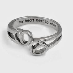 Double Hearts Lovers Ring Promise For Girlfriend Or Boyfriend Wedding Band My Heart Hext To Yours Engraved Gift Women Size 6 9