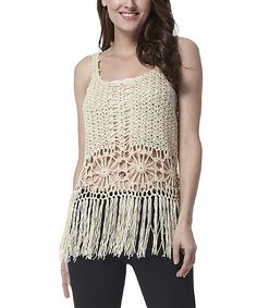Look at this #zulilyfind! Simply Couture Beige Crochet Wool-Blend Tank by Simply Couture #zulilyfinds