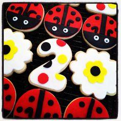 Ladybug Sugar Cookies-Little Miss Ladybug Cookie Favor- Ladybug Cookie Favors  - First Birthday Cookies - Ladybug Cookies  on Etsy, $24.00