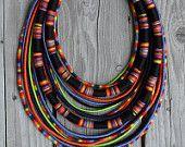 "OOAK ""Quetzalcoatl"" - yarn-wrapped necklace / tribal / hippie / bohemian / ethnic / thread / rope"