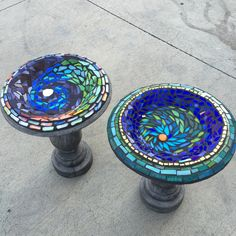 Mosaic birdbaths Vicki and Diane. Cobalt blue, stained glass,