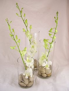 Dendrobium orchids are beautiful and available year-round at GrowersBox.com. This is a great example of how elegant even simple wedding centerpieces can be.
