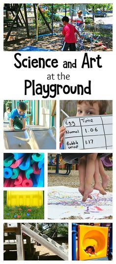 Learning Activities at the Playground: Fun science, math, and art activities for kids using playground equipment like the slide, swing, and play structures. Explore physics, simple machines, create process art, all while playing outside! Perfect for playdates or back to school fun at the school playground!
