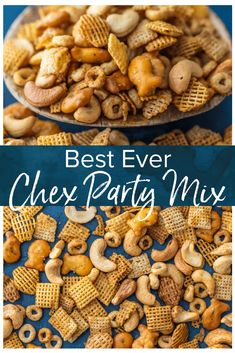 This Homemade Chex Mix recipe is the perfect Chex Party Mix for every occasion. It& a family favorite, also known as the BEST Chex Mix ever! Trail Mix Recipes, Snack Mix Recipes, Snack Mixes, Candy Recipes, Bits And Bites Recipe, Healthy Chex Mix, Chex Party Mix Recipe, Homemade Chex Mix Recipe Spicy, Best Party Mix Recipe