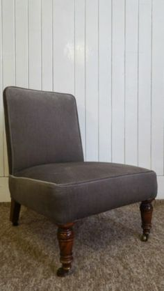 Antique Victorian bedroom chair / nursing chair - french grey