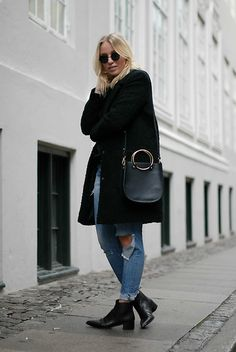 Get this look: http://lb.nu/look/8531837  More looks by Cecilie Krog: http://lb.nu/bykrog  Items in this look:  Vero Moda Teddy Coat, H&M Ripped Jeans, Forever 21 Bag, Acne Studios Acne Boots   #chic #classic #minimal #veromoda #black #teddy #coat #ripped #blue