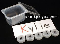 Bottle Cap Names in #preschool and #kindergarten via www.pre-kpages.com