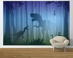 T Rex In The Woods Blue and Green PrePasted Mural - Wall Sticker Outlet