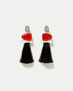 ZARA - WOMAN - TASSELLED GEM STONE EARRINGS