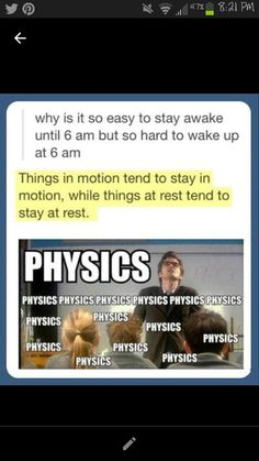 Physics applies to sleep? Wha?
