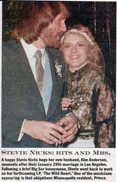Kim Anderson and Stevie  ~ ☆♥❤♥☆ ~    the day they were married on January 29th 1983; she looks happy but she wore black; this marriage only lasted 3 months