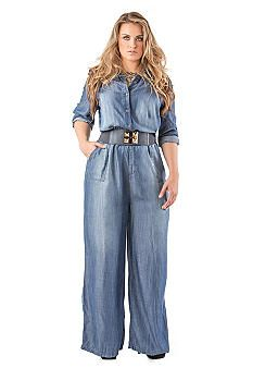 Standards and Practices Plus Size Wide Leg Tencel Denim Jumpsuit....I want this