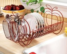 Our expandable apple design dish rack brightens up your kitchen! Unique apple design makes a great kitchen accessory. Expandable dish rack can nearly double in size from to long enough to hold plates when fully extended. Apple Kitchen Decor, Kitchen Decor Sets, Red Kitchen, Kitchen Themes, Country Kitchen, Kitchen Storage, Apple Decorations For Kitchen, Orange Kitchen Decor, Kitchen Ideas