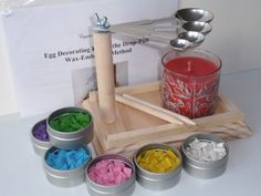This kit includes: paraffin stove with 4 interchangeable spoons; two pinhead styluses (#2 medium); wax in 6 colors: white, yellow, light pink, light blue, light green, and purple; and instructions, helpful hints, and design ideas. BONUS: 3 plastic, chalkboard eggs for practice. This new, handmade EggstrArt Paraffin Stove can be used with a regular candle, an alcohol burner, or a 1-oz liquid oil candle. It has a sturdy wooden board with 4 metal spoons of different sizes: 1 tbsp (15 ml), 1…