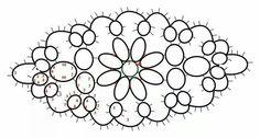 Diagram by jane eborall with ds count of oval pattern pg 8 home beautiful tatting book 4 Tatting Armband, Tatting Bracelet, Tatting Earrings, Tatting Jewelry, Tatting Lace, Shuttle Tatting Patterns, Needle Tatting Patterns, Lace Patterns, Crochet Patterns