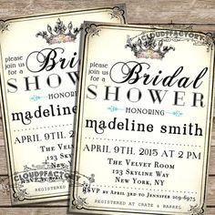 Typography Bridal Shower Printable Invitation - Princess Fairytale Crown - Elegant Rustic Style - Calligraphy - digital invite - No.201 on Etsy, $20.00