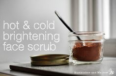 Hot & Cold Brightening Facial Scrub Hot & Cold Brightening Facial Scrub - use Healthforce Nutritionals C (just freeze-dried acerola berry) instead of ascorbic acid Age Spots On Face, Coconut Oil Scrub, Sugar Scrub Homemade, Natural Beauty Recipes, Facial Scrubs, Homemade Beauty Products, Diy Skin Care, Cold, Freeze