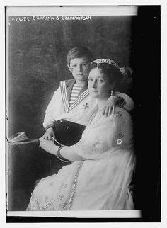Alexandra Feodorovna Romanova (1872-1918), Empress consort of Russia and spouse of Nicholas II, with her son Alexei Nikolaevich, Tsarevich of Russia (1904-1918).