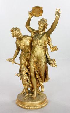 1190 - 19TH C. FRENCH DANCING WOMAN, BRONZE