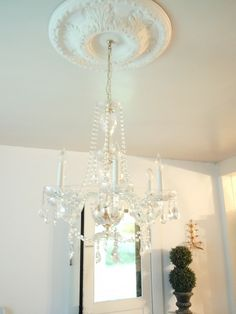 Chandelier to hang from the crown medallion - keep the crown medallion