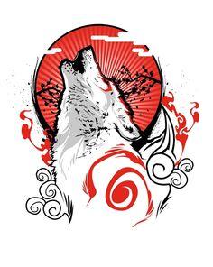 Okami T-Shirt by inkone. Goddess of the Sun. In Okami, the player takes the role of the mythical sun goddess Amaterasu, in the form of a wolf. Japanese Artwork, Japanese Tattoo Art, Amaterasu, Animal Totem Loup, Fuchs Tattoo, Japon Illustration, Samurai Art, Wolf Tattoos, Japan Art