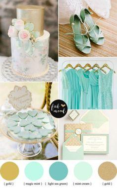 { magic mint + light sea green + mint cream } Shades of mint and gold palette   fabmood.com