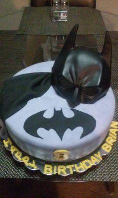 Batman Theme B-day Cake. Vanilla Sponge Cake w/Buttercream Filling & Frosting, Fondant & Batman Mask.