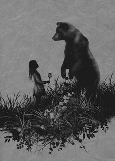 See a bear in the wild. Wait, no. No chasing. The Bear Encounter Art Print Bear Sketch, Bear Totem, Spirit Bear, Bear Drawing, Bear Tattoos, Bear Girl, Bear Illustration, Power Animal, Love Bear