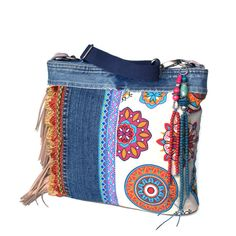 5012030efb2 Crossbody bag Ibiza style with fringe, colored handbag in fuchsia and  turquoise with recycled jeans, one of a kind handmade purse bohemian