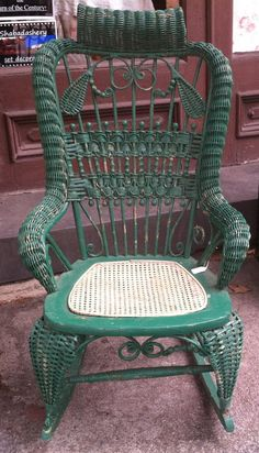 Circa 1890s Victorian Green Wicker Rocking Chair with Cane Seat - by Shabadashery | Liked by Wicker Paradise