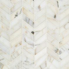 Artistic Tile Calacatta Gold and Bianca Carara marbles in chevron pattern. Tiffany Blue, Calacatta Gold Marble, Marble Tiles, Calacatta Tile, Tiling, Marble Polishing, Artistic Tile, Herringbone Backsplash, Design Furniture