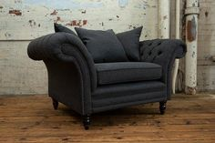 Handmade Dark Grey Herringbone Wool With Antique Tan Leather 3 Seater Chesterfield Sofa In 2020 Antique Sofa Chesterfield Sofa Best Sofa