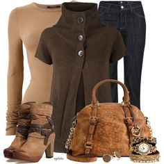 dark brown sweater and boots