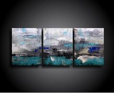 Abstract Painting. Large. Wall Art. Modern Art. Original. Contemporary Painting. Huge 20 x 48 Art Artwork Blue Brown Cream Grey White on Etsy, $199.00