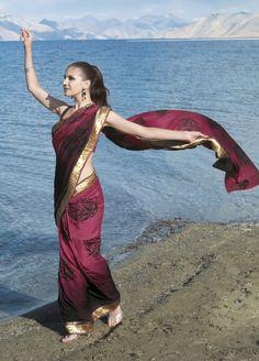 Georgette saree with jaquard print - bridesmaid saree?
